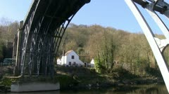 Iron bridge over River Severn, Ironbridge, Shropshire, England Stock Footage