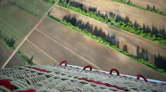 Forest belt and field located under flying balloon Stock Footage