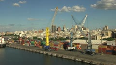 Uruguay Montevideo colorful freight containers and cranes 3 Stock Footage