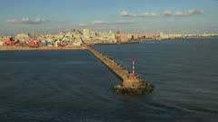 Montevideo skyline and pier Stock Footage