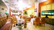 Interior of restaurant lounge is made in Indian style Stock Footage