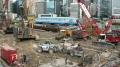 Construction pit in Hong Kong Stock Footage
