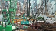 Stock Video Footage of Construction cranes and skyline of Hong Kong