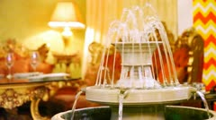 Luxury interior design supplements fountain in restaurant hall Stock Footage