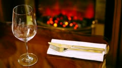 Tableware and wineglass for wine lies on table in restaurant Stock Footage