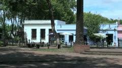 Uruguay Colonia del Sacramento park and houses Stock Footage