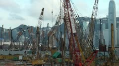 Overview of construction site and skyline of Hong Kong Stock Footage