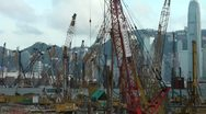 Stock Video Footage of Overview of construction site and skyline of Hong Kong