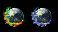 Two Earth in Particle Ring - HD1080 Stock Footage