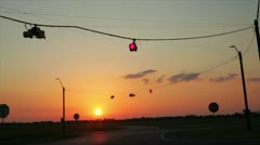 Sunset traffic signal Stock Footage