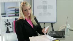 Businesswoman working and thinking Stock Footage