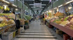 Aisle of a Fresh Fruit Market in Thailand Stock Footage