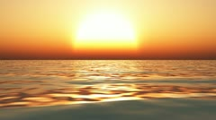 flying over ocean at sunset - stock footage