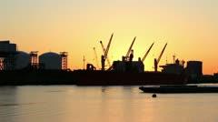 Mystic river powerplant tanker sunrise Stock Footage