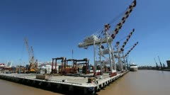 Buenos Aires harbor cranes and ship Stock Footage