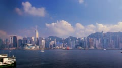 Hong Kong Harbour Time-lapse V - daytime, with camera pan Stock Footage