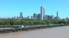Buenos Aires harbor with skyline p1 Stock Footage