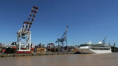 Buenos Aires harbor with ship Stock Footage