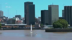 Buenos Aires harbor with sailboat Stock Footage