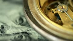 Dollar and the old pendulum clock. loopable. Stock Footage