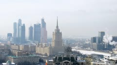 Ukraine hotel stands before business center Moscow city Stock Footage