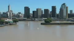 Buenos Aires skyline from harbor sa Stock Footage