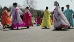 Pyongyang street dancing, North Korea Stock Footage