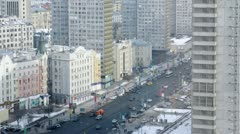 Cars go along new buildings on New Arbat Stock Footage