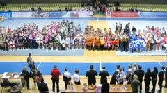 Jury awards winners teams of championship on cheerleading Stock Footage