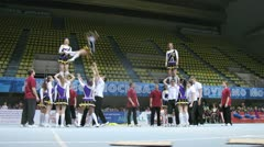 Action team participates in Championship on cheerleading Stock Footage