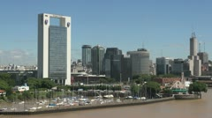 Buenos Aires skyline and small boat harbor Stock Footage