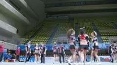 Energy team participates in Championship on cheerleading Stock Footage
