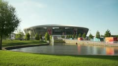 Panorama of Donbass Arena. Ukraine. Donetsk. Euro-2012. - stock footage