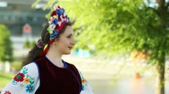 Portrait of a young adult Ukrainian girl laughing. Donetsk. Euro-2012 - stock footage
