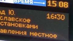 Display with train schedule Stock Footage