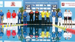Athletes of man stand on pedestal on World FINA series Stock Footage