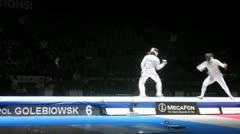 Women participate in competitions on championship in fencing Stock Footage