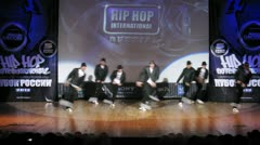 158 team dances hip-hop on scene of palace of culture Stock Footage