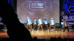 Absatz crew dances hip-hop on scene of palace of culture Stock Footage