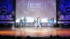 Adrenalin crew dances hip-hop on scene of palace of culture - stock footage