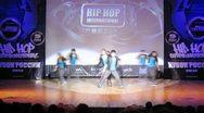 Adrenalin crew dances hip-hop on scene of palace of culture Stock Footage