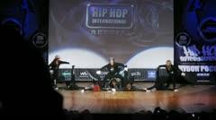 Banda crew dances hip-hop on scene of palace of culture Stock Footage