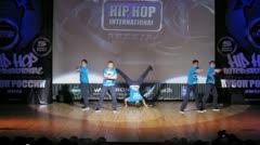Stock Video Footage of Check De Sound crew dances hip-hop on scene of palace of culture