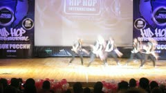 Stock Video Footage of Hustle crew dances hip-hop on scene of palace of culture
