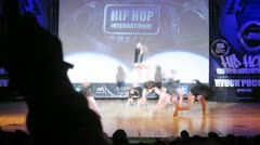Masta Funk crew dances hip-hop on scene of palace of culture Stock Footage