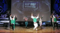 Show Master crew dances hip-hop on scene of palace of culture Stock Footage