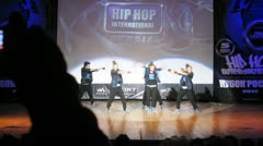 Tsu-namicrew dances hip-hop on scene of palace of culture Stock Footage