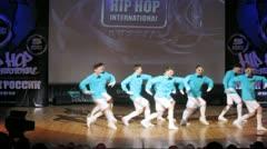United Bit Boys crew dances hip-hop on scene Stock Footage