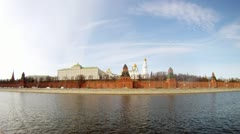 Motorship swim near of Kremlin on Moscow river, time lapse Stock Footage