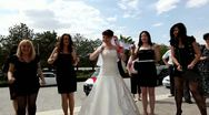 Bride and bridesmaids dancing on  her wedding day Stock Footage